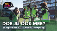 World Clean Up Day 18 sept 2021, ja ik wil meedoen!